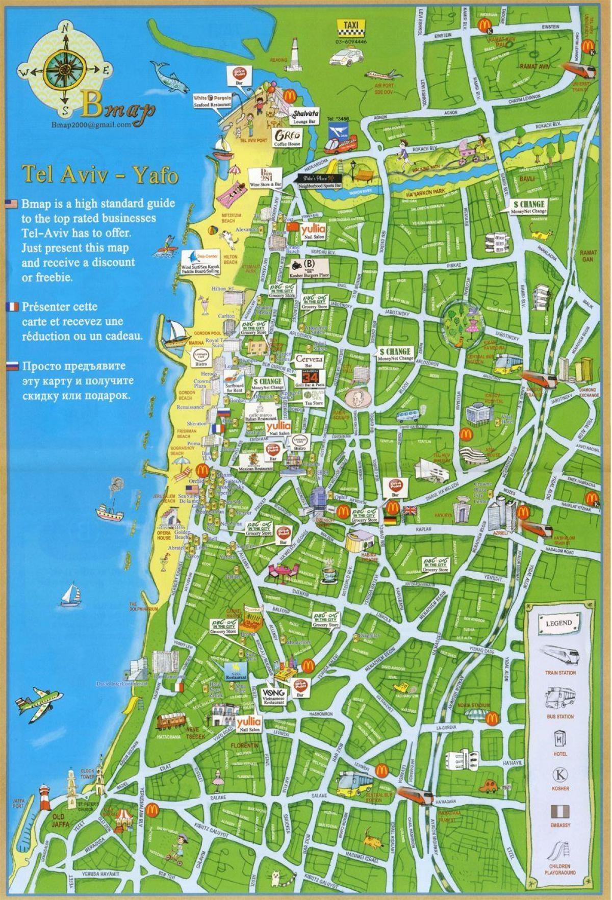 Tel Aviv Tourist Map Tel Aviv Attractions Map Israel